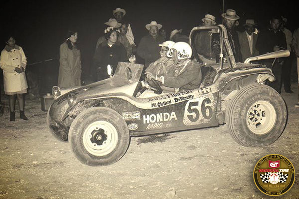 "The original ""Bully Fighter"" dune buggy driven by Andy DeVercelly Jr. and Tom McClelland at the 1968 NORRA Mexican 1000."